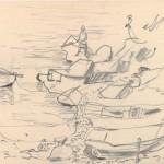 Zonder titel, 1980 potloodschets, 16 x 23.5 cm